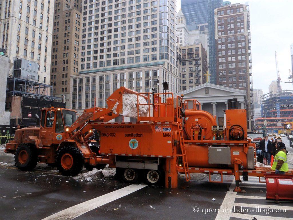 New York Manhattan Schnee schmelzen