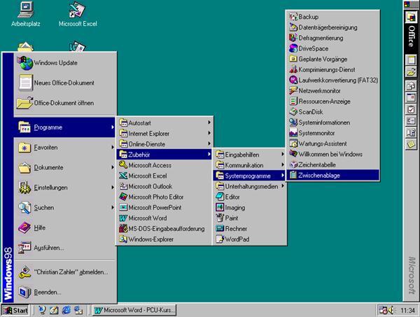 Microsoft Windows 98 Oberfläche