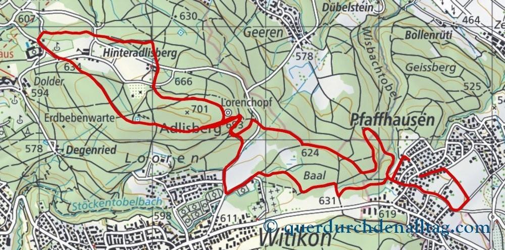 Pfaffhausen Loorenkopf Karte