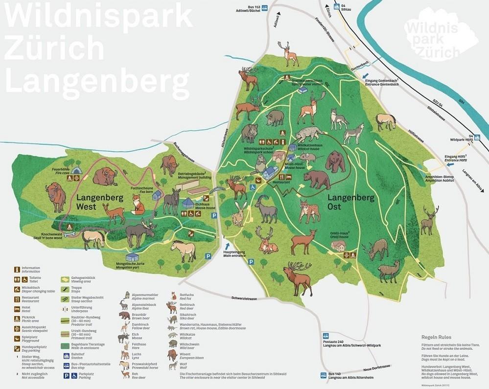 Wildnispark Zürich Langenberg Plan