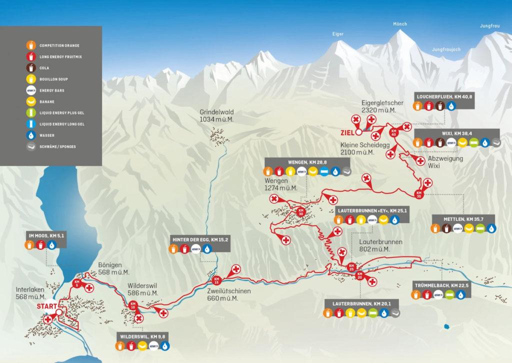 Bewegung Jungfrau Marathon Strecke