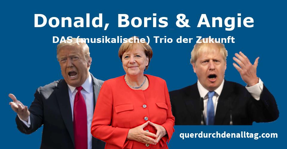 Trio Donald Trump Boris Johnson Angela Merkel